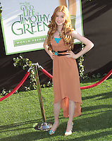 Katherine McNamara arrives at the Los Angeles premiere of 'The Odd Life Of Timothy Green' at the El Capitan Theatre on August 6, 2012 in Hollywood, California. MPI28 / Medapunchinc /NortePhoto.com<br />