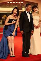 Qi Wei, Zhang Hanyu and Ha Ji-Won walk the red carpet ahead of the 'Manhunt (Zhuibu)' screening during the 74th Venice Film Festival at Sala Darsena on September 8, 2017 in Venice, Italy. <br /> CAP/GOL<br /> &copy;GOL/Capital Pictures