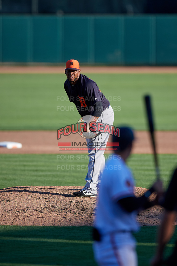 Detroit Tigers relief pitcher Jose Cisnero (67) looks in for the sign during a Grapefruit League Spring Training game against the Baltimore Orioles on March 3, 2019 at Ed Smith Stadium in Sarasota, Florida.  Baltimore defeated Detroit 7-5.  (Mike Janes/Four Seam Images)