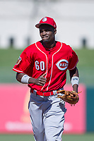 Cincinnati Reds right fielder Mariel Bautista (60) jogs off the field between innings during an Instructional League game against the Kansas City Royals on October 2, 2017 at Surprise Stadium in Surprise, Arizona. (Zachary Lucy/Four Seam Images)