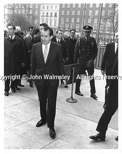 President Richard Nixon arriving at the American Embassy, Grosvenor Square, London, 1968(?).  I was a photography student wearing my old coat.  In those days you could get this close, no-one was too bothered.