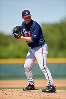 Atlanta Braves pitcher Cutter Dyals (83) during a minor league Spring Training game against the Pittsburgh Pirates on March 13, 2018 at Pirate City in Bradenton, Florida.  (Mike Janes/Four Seam Images)
