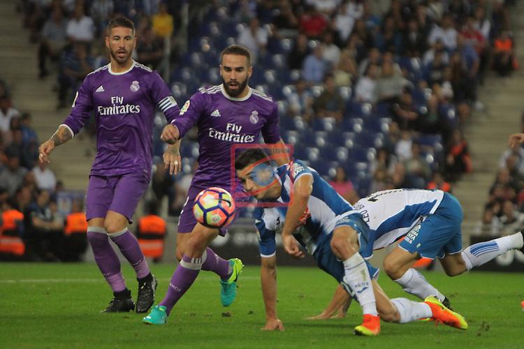 League Santander 2016/2017. Game: 4.<br /> RCD Espanyol vs R. Madrid: 0-2.<br /> Sergio Ramos, Daniel Carvajal, Marc Roca &amp; Leo Baptistao.