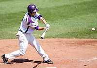 Eric Stamets (8) of the Evansville Purple Aces swings at a pitch during a game against the Indiana State Sycamores in the 2012 Missouri Valley Conference Championship Tournament at Hammons Field on May 23, 2012 in Springfield, Missouri. (David Welker/Four Seam Images)