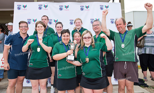 11/10/2015<br /> Netball Victoria State Titles 2015<br /> Bendigo <br /> AA Reserve Champions Parkville<br /> Photo: Grant Treeby