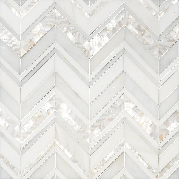 Magdalena, a handmade mosaic shown in polished Shell, Thassos, Dolomite and Afyon White, is part of the Aurora™ Collection by Sara Baldwin for New Ravenna.
