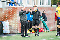 Boston, MA - Sunday May 07, 2017: Matt Beard, Head Coach and 4th official during a regular season National Women's Soccer League (NWSL) match between the Boston Breakers and the North Carolina Courage at Jordan Field.
