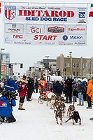 Thomas Waerner and team leave the ceremonial start line with an Iditarider and handler at 4th Avenue and D street in downtown Anchorage, Alaska on Saturday March 7th during the 2020 Iditarod race. Photo copyright by Cathy Hart Photography.com