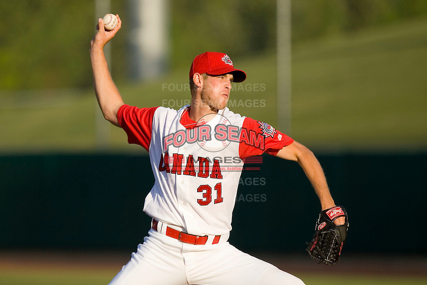 Starting pitcher Brooks McNiven #31 of Team Canada in action versus Team USA at the USA Baseball National Training Center, September 4, 2009 in Cary, North Carolina.  (Photo by Brian Westerholt / Four Seam Images)