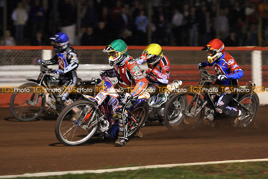 Heat 13: Crump (green), Kennett (blue), Screen (yellow) and Bridger - Lakeside Hammers vs Belle Vue Aces - Sky Sports Elite League Speedway at Arena Essex, Purfleet - 10/09/08 - MANDATORY CREDIT: Gavin Ellis/TGSPHOTO - Self billing applies where appropriate - 0845 094 6026 - contact@tgsphoto.co.uk - NO UNPAID USE.