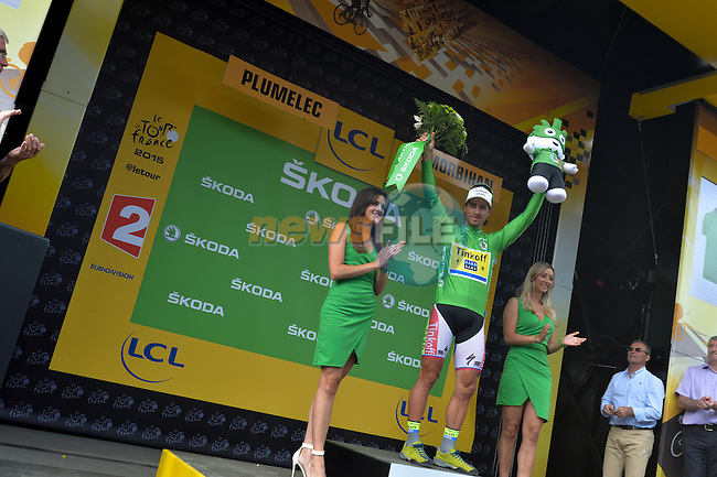 Peter Sagan (SVK) Tinkoff-Saxo retains the Green Jersey on the podium after Stage 9 of the 2015 Tour de France a team time trial running 28km from Vannes to Plumelec, France. 11th July 2015.<br /> Photo: ASO/P.Perreve/Newsfile