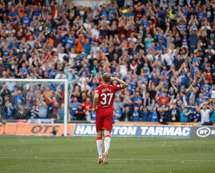 04.08.2019 Kilmarnock v Rangers: Scott Arfield salutes the Rangers fans after scoring