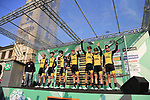 Team LottoNL-Jumbo at sign on before the start of the 112th edition of Il Lombardia 2018, the final monument of the season running 241km from Bergamo to Como, Lombardy, Italy. 13th October 2018.<br /> Picture: Eoin Clarke | Cyclefile<br /> <br /> <br /> All photos usage must carry mandatory copyright credit (© Cyclefile | Eoin Clarke)