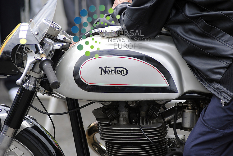 Ayr Racecourse, Ayr...3/6/12..The petrol tank of a Norton Racing Bike that was being demonstrated to the crowd at the Scottish Classic Motorcycle Show in Ayr to-day.