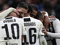 Calcio, Serie A: Juventus - Caglairi, Turin, Allianz Stadium, November 3, 2018.<br /> Juventus' Juan Cuadrado celebrates after scoring with his teammates during the Italian Serie A football match between Juventus and Cagliari at Torino's Allianz stadium, November 3, 2018.<br /> UPDATE IMAGES PRESS/Isabella Bonotto