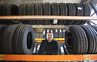 Pictured: Ken Owens at his fathers tyre garage in Carmarthen. Wednesday 26 April 2017<br /> Re: Interview with British Lions rugby player Ken Owens in Carmarthen, Wales, UK