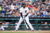 Justin Upton (8) of the Detroit Tigers at bat against the Chicago White Sox at Comerica Park on June 2, 2017 in Detroit, Michigan.  The Tigers defeated the White Sox 15-5.  (Brian Westerholt/Four Seam Images)