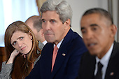 (L-R) United States Ambassador to the United Nations Samantha Power, US Secretary of State John Kerry and US President Barack Obama attend a Bilateral meeting with Ethiopian Prime Minister Hailemarian Desalegn (not pictured) at the Waldorf Astoria Hotel in New York, NY, on September 25, 2014. <br /> Credit: Anthony Behar / Pool via CNP