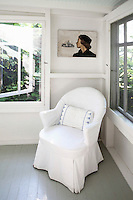 white armchair cover
