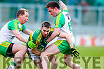Marc O'Se, Kerry, in action against Martin O'Reilly,  and Anthony Thompson, Donegal, in the national Football League, Division 1, Round 4, at Austin Stack Park, Tralee on Sunday.