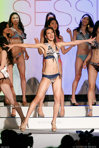 Miss Chiba, Momoko Abe, competes in the swimsuit category during Miss Universe Japan competition at Hotel Chinzanso Tokyo on July 4, 2017, Tokyo, Japan.  Abe won the title will represent Japan in the next Miss Universe competition. (Photo by Rodrigo Reyes Marin/AFLO)
