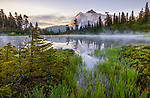 Mount Baker-Snoqualmie National Forest, WA: Fog on Picture Lake with clouds around Mount Shuksan at sunrise