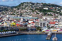 Fort-de-France, Martinique.  View of the Town from the Harbor, Late Afternoon.