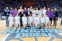 Real Madrid's players with the president Florentino Perez during Finals match of 2017 Mini King's Cup at Fernando Buesa Arena in Vitoria, Spain. February 19, 2017. (ALTERPHOTOS/BorjaB.Hojas) /NortEPhoto.com