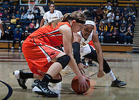 Brittany Boyd of California fights for a loose ball during the game against Oregon State at Haas Pavilion in Berkeley, California on January 3rd, 2014.  California defeated Oregon State, 72-63.