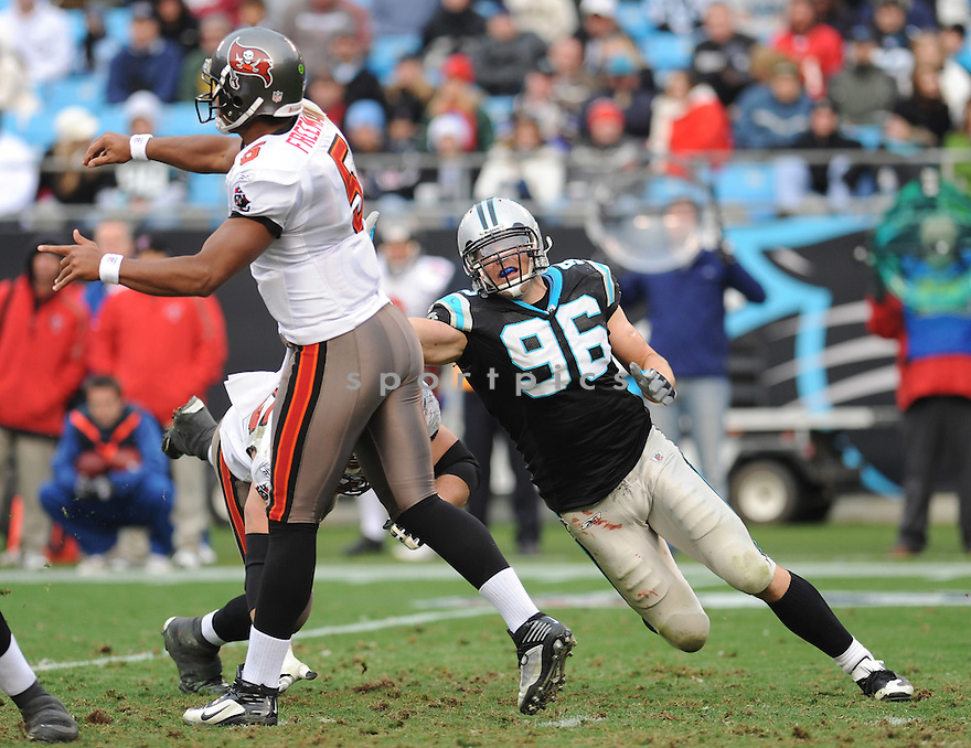 TYLER BRAYTON of the Carolina Panthers in action during the Panthers game against the Tampa Bay Buccaneers on December 6, 2009 in Charlotte, North Carolina. Panthers won 16-6...