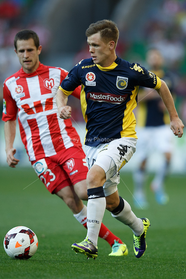 Michael MCGLINCHEY of the Mariners controls the ball in the round two match between Melbourne Heart and the Central Coast Mariners in the Australian Hyundai A-League 2013-24 season at AAMI Park, Melbourne, Australia.<br /> This image is not for sale. Please visit zumapress.com for image licensing.
