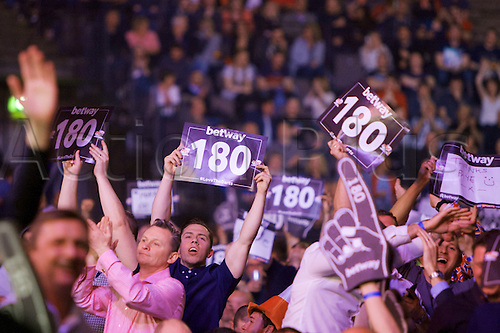 2.04.2015.  Manchester, England. Betway Premier League Darts. Judgement Night. Darts fans enjoying a night out.