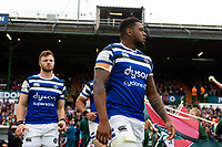 Levi Douglas and the rest of the Bath Rugby team run onto the field. Gallagher Premiership match, between Leicester Tigers and Bath Rugby on May 18, 2019 at Welford Road in Leicester, England. Photo by: Patrick Khachfe / Onside Images