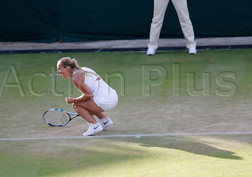 02.07.2016. All England Lawn Tennis and Croquet Club, London, England. The Wimbledon Tennis Championships Day Six. Number 19 seed Dominika Cibulkova (SVK) celebrates her win over Eugenie Bouchard (CAN).