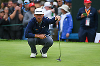 Chez Reavie (USA) lines up his putt on 3 during round 4 of the 2019 US Open, Pebble Beach Golf Links, Monterrey, California, USA. 6/16/2019.<br /> Picture: Golffile | Ken Murray<br /> <br /> All photo usage must carry mandatory copyright credit (© Golffile | Ken Murray)