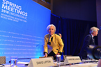Washington, DC - April 19, 2018: IMF Managing Director Christine Lagarde holds a press briefing during the Spring Meetings of the International Monetary Fund/World Bank Group in Washington, DC April 19, 2018.  (Photo by Don Baxter/Media Images International)