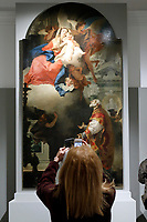Painting by Giovan Battista Tiepolo, Appearance of Madonna with child to St Filippo Neri, 1739-40<br /> Rome May 3rd 2019. Quirinale Palace. Preview of the exhibition 'The art of rescuing art' , a collection of antique artworks, paintings, statues, jewelry and terracotta artefacts rescued from the command of Carabinieri for the protection of the cultural heritage in 50 years.  Many of these artworks were stolen on commission for private collections.<br /> Photo di Samantha Zucchi/Insidefoto