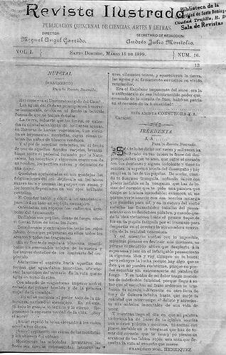 Página 13 del número 16 de la Revista Ilustrada, órgano del que Francisco Noel fue colaborador en 1899.