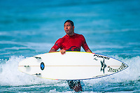 Sunny Garcia (HAW) giving the judges stink eye on his way to winning the 1995 Quiksilver Surf Masters at the Grand Plage, Biarritz in the South West of France. Photo: joliphotos.com