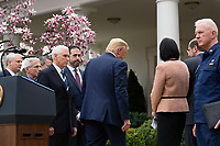 United States President Donald J. Trump departs after speaking at a news conference in the Rose Garden at the White House in Washington D.C., U.S., on Friday, March 13, 2020.  Trump announced that he will be declaring a national emergency in response to the Coronavirus.  Credit: Stefani Reynolds / CNP/AdMedia