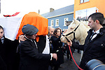 8-12-2014; &quot;Peig&quot;, Jackie Healy-Rae's pony is brought to meet Jackie for one final farewell in a poignant moment outside the bar in Kilgarvan, County Kerry  during the funeral of former South Kerry TD Jackie Healy-Rae Monday.<br /> Picture by Don MacMonagle