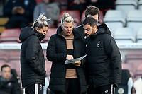 Bristol City manager Tanya Oxtoby briefs her coaching staff ahead of Arsenal Women vs Bristol City Women, Barclays FA Women's Super League Football at Meadow Park on 1st December 2019
