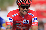 Race leader Red Jersey Nicolas Roche (IRL) Team Sunweb crosses the finish line at the end of Stage 3 of La Vuelta 2019 running 188km from Ibi. Ciudad del Juguete to Alicante, Spain. 26th August 2019.<br /> Picture: Eoin Clarke | Cyclefile<br /> <br /> All photos usage must carry mandatory copyright credit (© Cyclefile | Eoin Clarke)