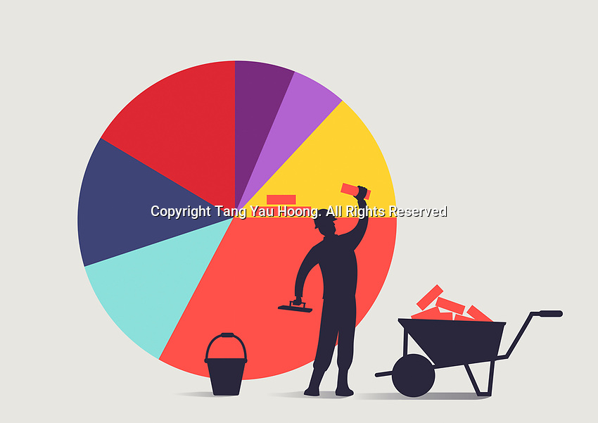 Construction worker building bigger pie chart share with bricks