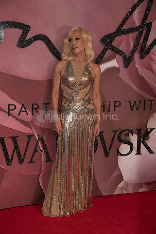 Donatella Versace<br /> The Fashion Awards 2016 , arrivals at the Royal Albert Hall, London, England on December 05 2016.<br /> CAP/PL<br /> ©Phil Loftus/Capital Pictures /MediaPunch ***NORTH AND SOUTH AMERICAS ONLY***