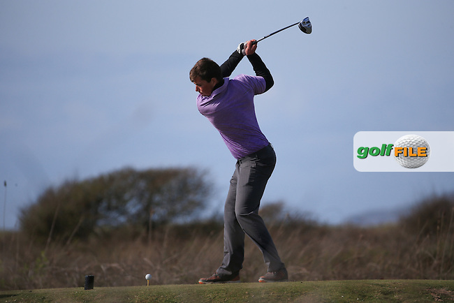 Ryan Curtis (Bude &amp; North Cornwall) plays from the elevated 12th tee during the Final Round of the West of England Championship 2016, at Royal North Devon Golf Club, Westward Ho!, Devon  24/04/2016. Picture: Golffile | David Lloyd<br /> <br /> All photos usage must carry mandatory copyright credit (&copy; Golffile | David Lloyd)