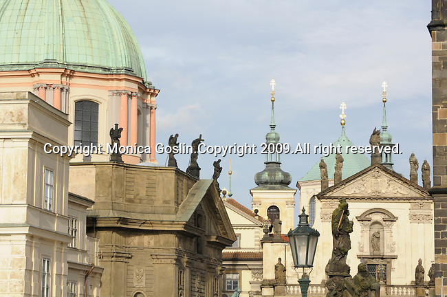 View from the Charles Bridge in Prague, Czech Republic.