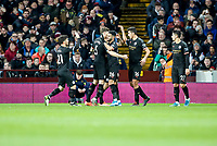 12th January 2020; Villa Park, Birmingham, Midlands, England; English Premier League Football, Aston Villa versus Manchester City; Riyad Mahrez of Manchester City and his teammates celebrate him scoring his and Manchester Citys second goal for 2-0 in the 23rd minute - Strictly Editorial Use Only. No use with unauthorized audio, video, data, fixture lists, club/league logos or 'live' services. Online in-match use limited to 120 images, no video emulation. No use in betting, games or single club/league/player publications