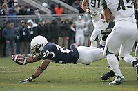 State College, PA - 11/27/2010:  RB Evan Royster (22) dives forward for a touchdown during the 4th quarter.  Despite a late come-back attempt, Penn State lost to Michigan State by a score of 28-22 on Senior Day at Beaver Stadium...Photo:  Joe Rokita / JoeRokita.com..Photo ©2010 Joe Rokita Photography