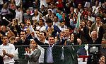 Tenis, Davis Cup 2010.Serbia Vs. Czech Republic, semifinals.Novak Djokovic Vs. Tomas Berdych.from left, Marko Djokovic, Dijana Djokovic, celebrate.Beograd, 19.09.2010..foto: Srdjan Stevanovic/Starsportphoto ©